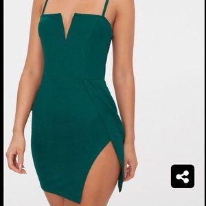 Emerald green extreme thigh split dress
